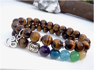 Tigers Eye and Alloy double strand beaded bracelet with Buddha charm