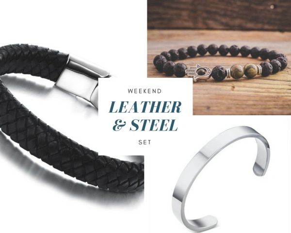 Weekend 3 Piece bracelet set - Leather and steel