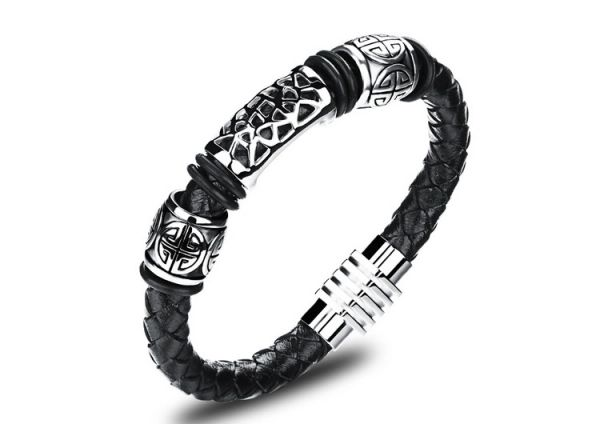 Braided leather bracelet with stainless steel trim and magnetic closure