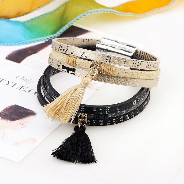 Printed leather bracelet with tassel