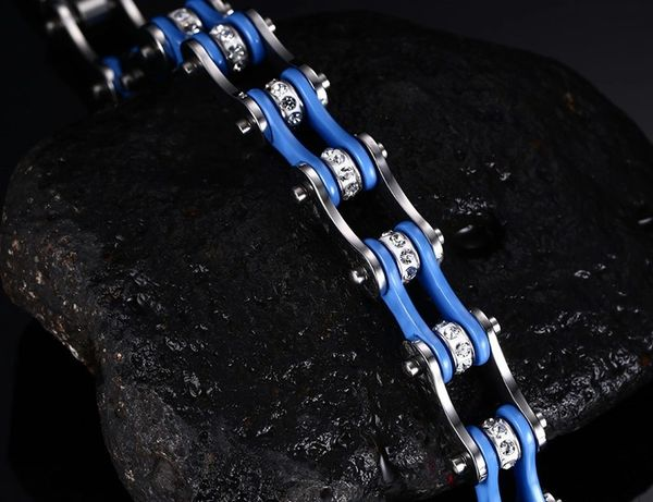 Stainless steel motorcycle chain bracelet blue