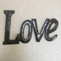 Hammered Metal Word Art - Love