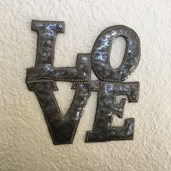 Hammered Metal Word Art - Love (Block style)