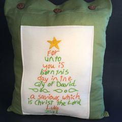 Luke 2:11 Pillow Cover, Green, Orange with Bright Yellow Star