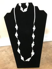 """White Necklace and Bracelet - 24"""" and 28"""""""
