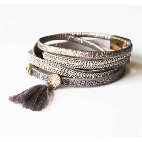 Leather Magnetic Wrap Tassel Bracelet