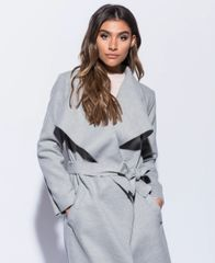 Shawl Collar Self Belt Maxi Coat