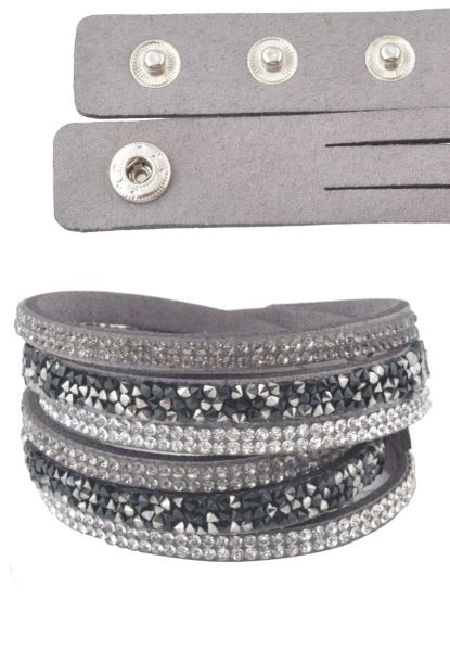 Grey Faux Suede Sparkle Wrap