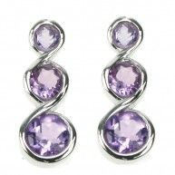 Amethyst Three Round Facet Stud Earrings