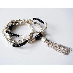 Trio Charm Tassel Stretch Bracelet