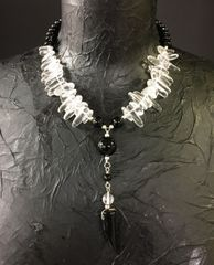 Onyx & Clear Quartz Necklace
