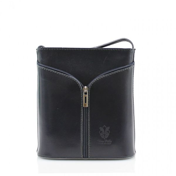 Small Cross Body Dark Grey Leather Bag