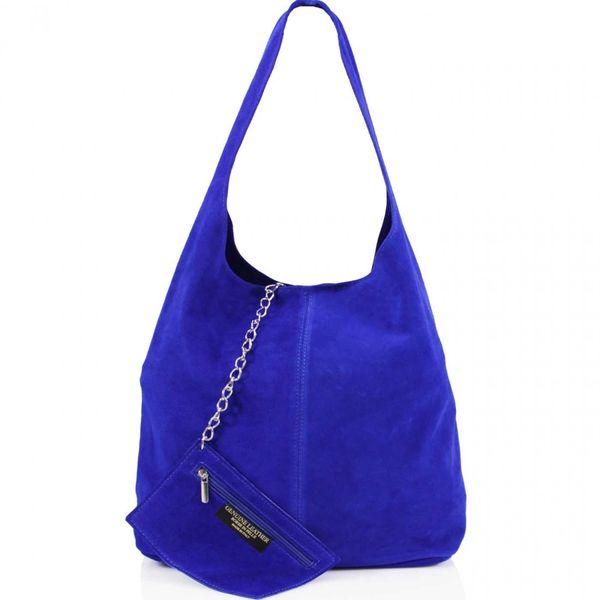 Royal Blue Suede Shoulder Bag