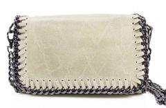 Chain Trim Beige Leather Clutch Bag