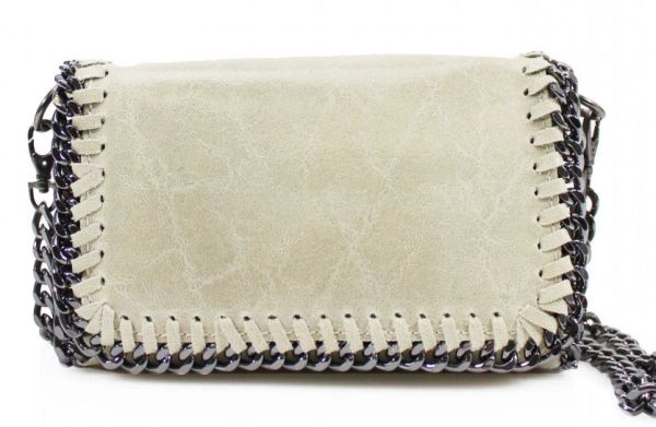 Chain Trim Beige Leather Clutch Bag