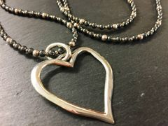 Silver Hematite Heart Necklace