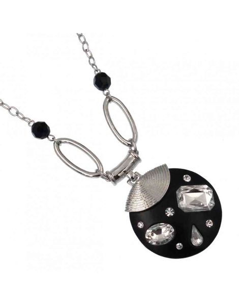 Acrylic Diamante Disc Necklace