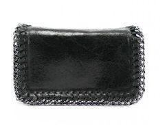 Chain Trim Black Leather Clutch Bag