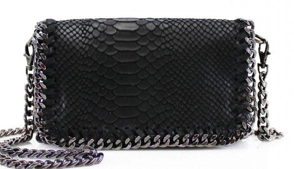 Chain Snake Black Leather Clutch Bag