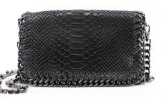 Chain Snake Dark Grey Leather Clutch Bag