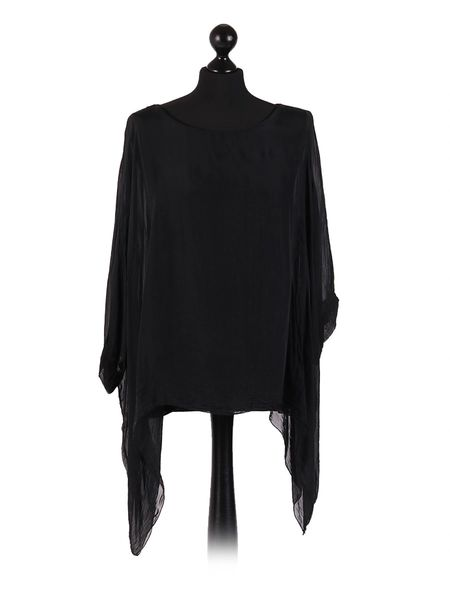 Italian Plain Batwing Silk Tunic Top