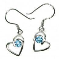 Blue Topaz Heart Earrings