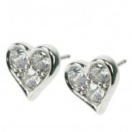 Heart Crystal Cubic Zirconia Stud Earrings