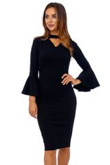 Black Scuba Crepe Frill Sleeve Choker Dress