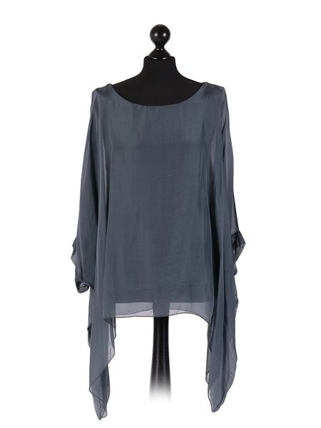 Italian Plain Grey Batwing Silk Tunic Top