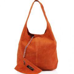 Orange Suede Shoulder Bag