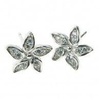 Crystal Cubic Zirconia Flower Earrings