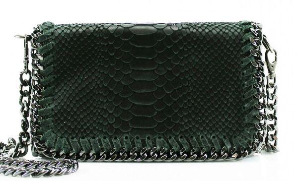 Chain Snake Dark Green Leather Clutch Bag