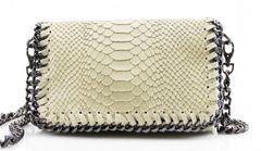 Chain Snake Beige Leather Clutch Bag
