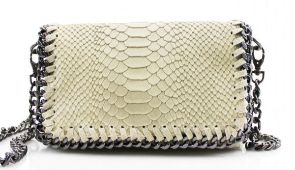 Chain Snake Beige Leather Clutch Bag