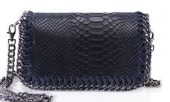 Chain Snake Navy Leather Clutch Bag