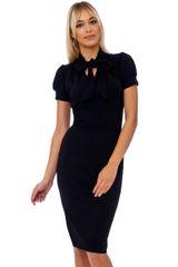 Black Luxury Scuba Crepe Dress With Tie Neck