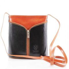 Small Cross Body Black/Tan Leather Bag