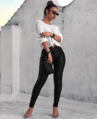 Coated Mid Rise Skinny Jeans