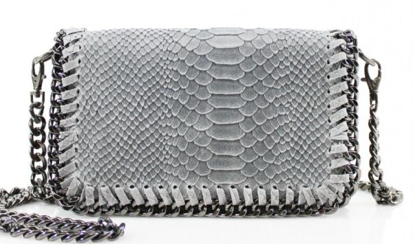 Chain Snake Light Grey Leather Clutch Bag