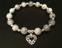 Grey Agate Silver Heart Bracelet