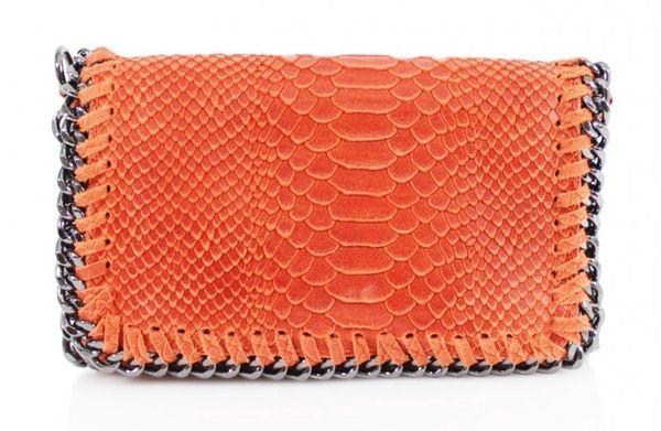 Chain Snake Orange Leather Clutch Bag