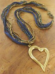 Blue & Bronze Suede Heart Necklace