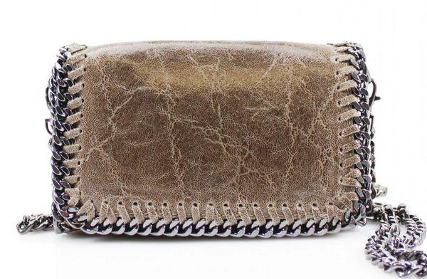 Chain Trim Khaki Leather Clutch Bag