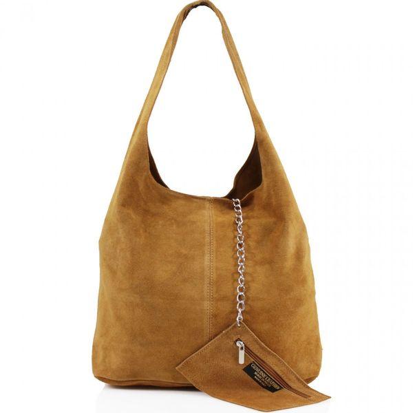 Cognac Suede Shoulder Bag