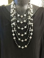 Onyx & Swarovski Quartz Necklace