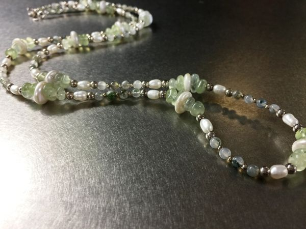 Moss Agate Pearl Necklace