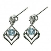Blue Topaz and Crystal Cubic Zirconia Stud Earring