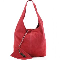 Coral Suede Shoulder Bag
