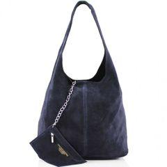 Navy Suede Shoulder Bag
