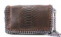 Chain Snake Dark Brown Leather Clutch Bag
